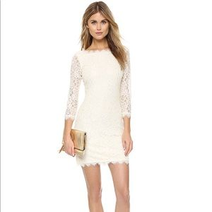"🔥 DVF 🔥 ""Zarita"" Ivory Lace Dress Sz 4 like new!"